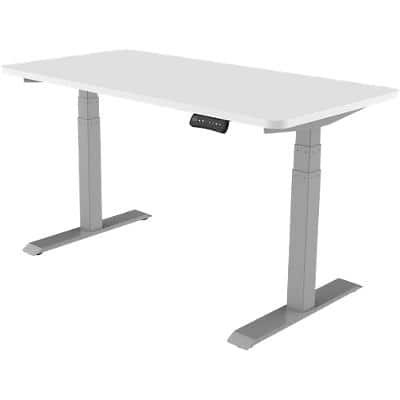 Realspace Sit Stand Single Desk With White Melamine Top and Silver Frame 1,800 x 800 x 605.5 - 1,252 mm