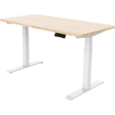 Realspace Sit Stand Single Desk With Oak Melamine Top and White Frame 1,800 x 800 x 605.5 - 1,252 mm