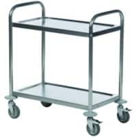 SLINGSBY 2 Shelf Service Trolley 375608 Steel Silver 71 x 71 x 80.5 cm