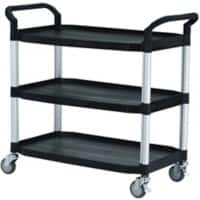 SLINGSBY 3 Shelf Service Trolley 384019 Plastic Black 52 x 110 x 102 cm