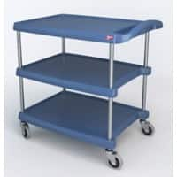 SLINGSBY Service Trolley with 3 Shelves 392266 Plastic Blue 90.2 x 87.3 x 90.2 cm