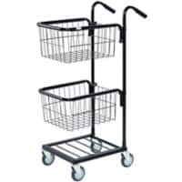SLINGSBY Mini Mail Trolley with 2 Baskets 402700 Steel Black 38.5 x 66 x 109 cm
