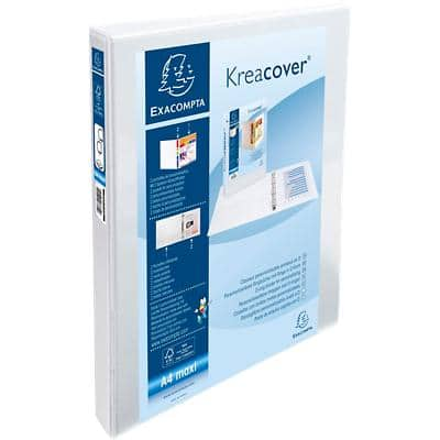 Exacompta Presentation Ring Binder Kreacover 51922E with 2 Pockets  Polypropylene A4+ 2 ring 30 mm White Pack of 10