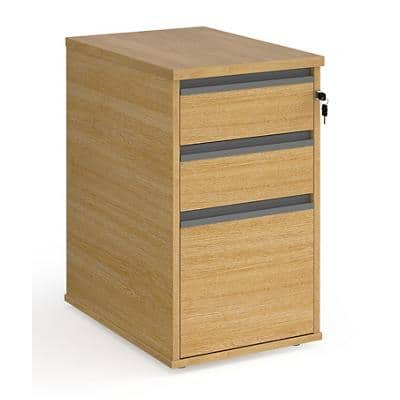 Dams International Desk End Pedestal with 3 Lockable Drawers Wood Contract 25 426 x 600 x 725mm Oak