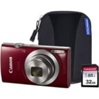 Canon Digital Camera IXUS 185 20 Megapixel Red + 1 x Camera Case, 1 x 32GB SD Card
