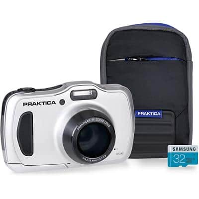 Praktica Digital Camera Luxmedia WP240 20 Megapixel Silver + 32GB Micro SD Card + Case