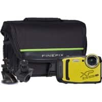 Fujifilm Digital Camera Finepix XP140 16.4 Megapixel Yellow + Bicycle Mount + Large Suction Mount + Case
