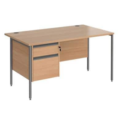 Straight Desk with Beech Coloured MFC Top and Graphite H-Frame Legs and 2 Lockable Drawer Pedestal CH14S2-G-B 1400 x 800 x 725mm