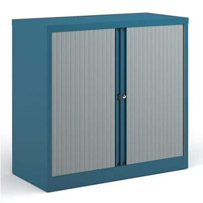 Bisley Tambour Cupboard Lockable Steel & Aluminium DST40BL 1000 x 470 x 1000 - 1015mm Blue