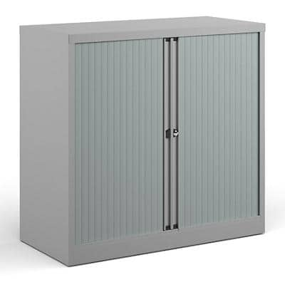 Bisley Tambour Cupboard Lockable Steel & Aluminium DST40G 1000 x 470 x 1000 - 1015mm Goose Grey