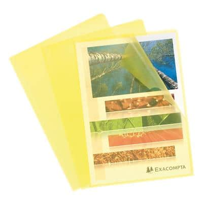 Exacompta A4 Cut Flush Folders 56116E 0.12mm PP Yellow Pack of 100