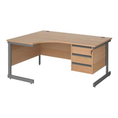 Left Hand Ergonomic Desk with 3 Lockable Drawers Pedestal and Beech Coloured MFC Top with Graphite Frame Cantilever Legs Contract 25 1600 x 1200 x 725 mm