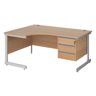 Left Hand Ergonomic Desk with 3 Lockable Drawers Pedestal and Beech Coloured MFC Top with Silver Frame Cantilever Legs Contract 25 1600 x 1200 x 725 mm