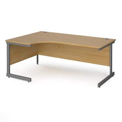 Dams International Left Hand Ergonomic Desk with Oak Coloured MFC Top and Graphite Frame Cantilever Legs Contract 25 1800 x 1200 x 725 mm