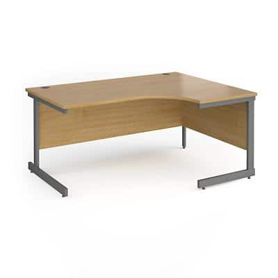 Dams International Right Hand Ergonomic Desk with Oak Coloured MFC Top and Graphite Frame Cantilever Legs Contract 25 1600 x 1200 x 725 mm