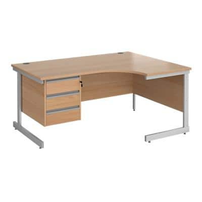 Right Hand Ergonomic Desk with 3 Lockable Drawers Pedestal and Beech Coloured MFC Top with Silver Frame Cantilever Legs Contract 25 1600 x 1200 x 725 mm