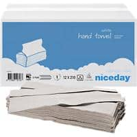Niceday Hand Towels 1 Ply C-fold White 210 Sheets Pack of 12