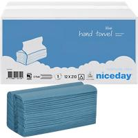 Niceday Hand Towels 1 Ply C-fold Blue 210 Sheets Pack of 12