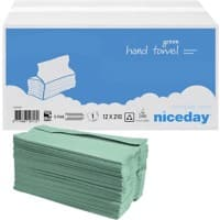 Niceday Hand Towels 1 Ply C-fold Green 210 Sheets Pack of 12