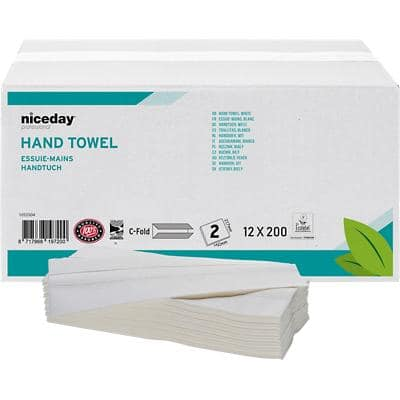 Niceday Professional Hand Towels 2 Ply C-fold White 200 Sheets Pack of 12
