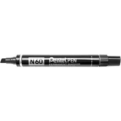 Pentel N60 Permanent Marker Medium Chisel Black Pack of 12