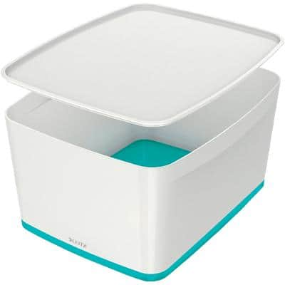 Leitz MyBox WOW Storage Box 18 L White, Ice Blue Plastic 31.8 x 38.5 x 19.8 cm