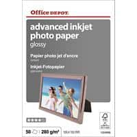 Office DEPOT 1059906 Photo Paper Glossy 100 x 150mm 280gsm White Pack of 50