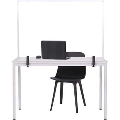 Bi-Office Tabletop Protective Screen with Clamps 1200 x 900mm Tempered Glass, Aluminium Silver Anodised
