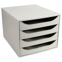 Exacompta Drawer Unit with 4 Drawers EcoBox Plastic Light Grey 28.4 x 34.8 x 23.4 cm