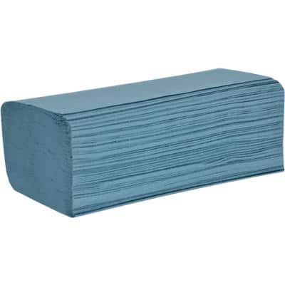 essentials Hand Towels 1 Ply V-fold Blue Pack of 12 of 300 Sheets