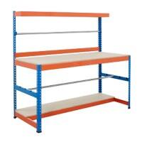 Bigdug Packing Workbench Big400 B4PS1506BO Steel Chipboard 400 kg Blue and Orange 1677 x 1525 x 610