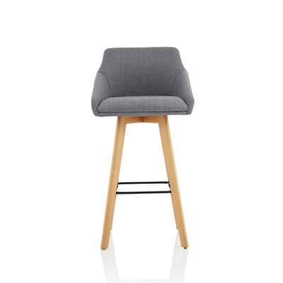 Dynamic Bar Stool with Fixed Armrests Carmen Fabric Grey, Wood