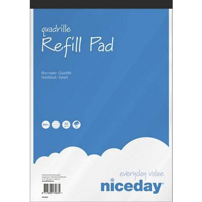 Niceday A4+ Top Bound Blue Paper Cover Refill Pad Squared 160 Pages Pack of 5