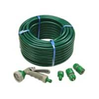 Faithfull PVC Reinforced Hose 30m Fittings and Spray Gun