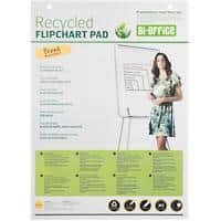 Bi-Office Plain Recycled Flipchart Pad Perforated A1 55gsm 40 Sheets Pack of 5