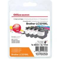 Office Depot Compatible Brother LC3219XL Ink Cartridge Black & 3 Colours Pack of 4
