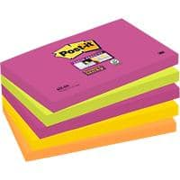 Post-it Super Sticky Notes Assorted Colours 76 x 127 mm 6 Pads of 90 Sheets