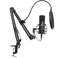 Maono Studio Microphone Kit AU-A04 With Spring Loaded Boom Arm And Pop Filter Black
