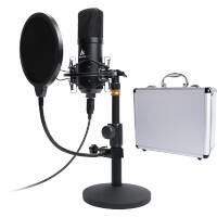 Maono Studio Table Top Microphone Kit With Pop Filter And Flight Case AU-A04TC Black