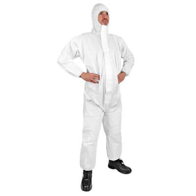 Click Once Protective Coverall With Hood Polyproylene, Polyethylene XL White