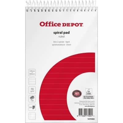 Office Depot Spiral Pad Ruled micro perforated 12.5 x 20 cm 10 pieces of 150 sheets