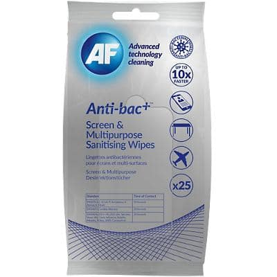 AF Sanitising Wipes Anti-bac+ White 17.5 x 9.5 x 4 cm Pack of 25
