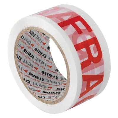 "Flexocare Printed ""Fragile"" Packaging Tape 48mm x 66m White & Red Pack of 6 Rolls"