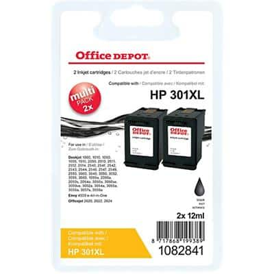 Office Depot Compatible HP 301XL Ink Cartridge J454AE Black Pack of 2