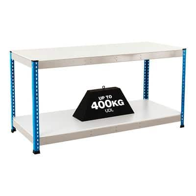 Bigdug Melamine Workbench Big400 with 2 Levels 400 Kg Blue 915 x 1525 x 915 mm