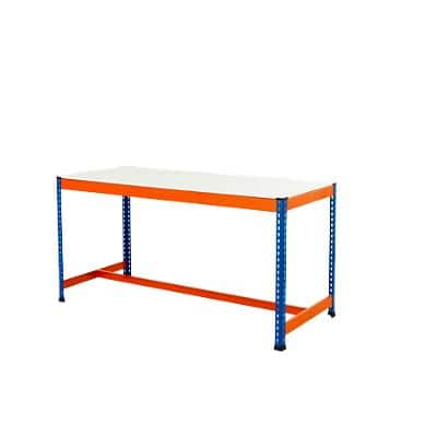 Bigdug Steel T-Bar Melamine Workbench Big400 with 1 Level 400 Kg Blue, Orange 915 x 1200 x 915 mm