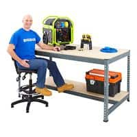 Bigdug Workbench with Half Depth and 1 Lower Shelf Big400 Steel, Chipboard 915 x 1200 x 610 mm