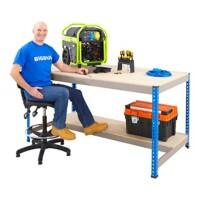 Bigdug Workbench with Half Depth and 1 Lower Shelf Big400 Steel, Chipboard Blue 915 x 1200 x 915 mm