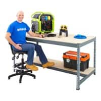 Bigdug Workbench With Half Depth and 1 Lower Shelf Big400 Steel, Chipboard 915 x 1525 x 610 mm