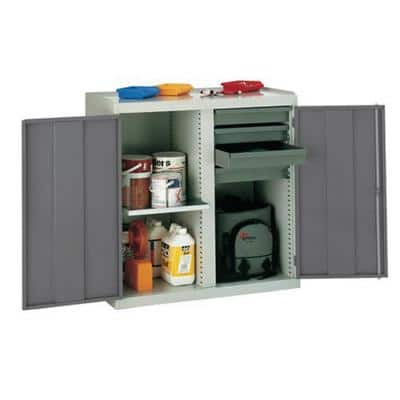 SLINGSBY Double Door Cupboard with 4 Drawers and 1 Shelf Steel Light Grey, Red 1000 x 500 x 1000 mm